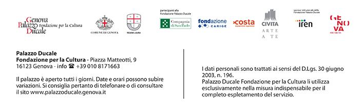 I dati personali sono trattati ai sensi del D.L.g.s. 30 giugno 2003, n.196. Palazzo Ducale Fondazione per la Cultura li utilizza esclusivamente nella misura indispensabile per il complete espletamento del servizio.